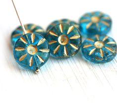 Czech Daisy beads blue glass beads  Aqua Blue with by MayaHoney