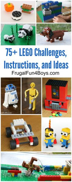 Turn that big tub of LEGO bricks into a day of fun! More than 75 fun building ideas, challenges, and games that kids will LOVE. With building instructions. Big Lego, Cool Lego, Building For Kids, Lego Building, Building Ideas, Lego Projects, Projects For Kids, Project Ideas, Stem Projects