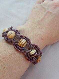 Hemp Macrame Bracelet with Glass Lampwork by PerpetualSunshine111, $28.00