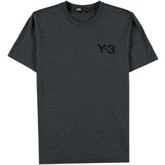 Y3 Basic Crew Neck T Shirt (200.085 COP) ❤ liked on Polyvore featuring tops, t-shirts, shirts, charcoal, short sleeve shirts, cotton tee, crewneck t shirt, crew neck tee and crew neck shirt