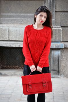 Tokyo and Seoul Dreams, Laura and her red Meli Melo satchel bag Meli Melo, Satchel Bag, Seoul, Tokyo, Dreams, Pullover, Sweaters, Red, Bags