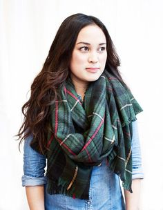 These new plaid scarves are just the right gauge for keeping you warm but lightweight enough you are not too bulked up.
