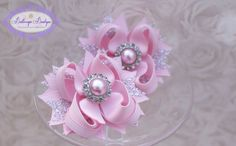 Valentines hair bows set of 2 mini pink and by buttercupsbows, $10.99
