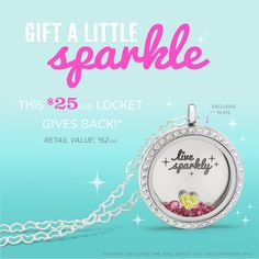 "Origami Owl. ***SPECIAL***  The Live Sparkly Share the Sparkle Locket includes:  1 Exclusive Large Silver Live Sparkly Inscriptions® Plate  1 Large Silver Classic Living Locket® with Crystals  1 16"" Heart Chain  1 Rose Stardust Swarovski® Crystals  1 Silver Heart with Yellow Crystals Charm Order here: www.CharmingLocketsByAline.OrigamiOwl.com"