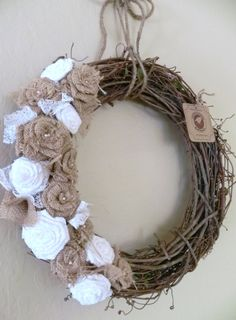 Burlap on Grapevine Wreath - Natural Burlap Roses, Pearls, and White Lace