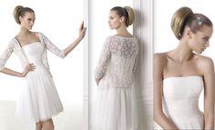 MIA Colección Modern Bride Vestido de novia corto urbano de tul de estilo evasé. Cuerpo drapeado horizontal de escote bañera. Falda corta de tul fruncida. Desde 590,00 €*