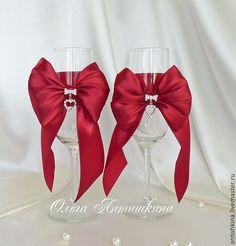 """Купить Свадебные бокалы """"Бордо"""" - бордовый, свадебные бокалы, бокалы для свадьбы, бокалы для молодоженов"""