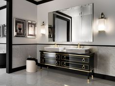 Bathroom. long black wooden vanity with golden ornaments combined with double white sink placed on the gray floor plus mirror between white lamps on the white wall . Fascinating Black Bathroom Sink Cabinets Bring A Cool Design Ideas In Your House