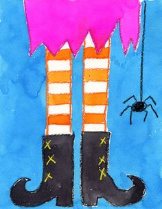 Symmetry Art Project: Funky Witch Feet with oil pastels and water colors by Art Projects for Kids