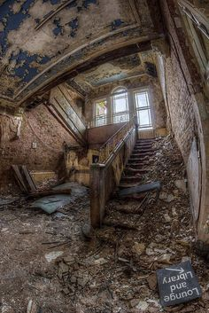 Whittingham Asylum, The second largest Asylum in Europe. Notice the sign at bottom of picture. Lounge and Library.