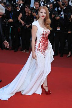 Jessica Chastain in Zuhair Murad Spring 2017 Couture with #Piaget jewels attends the Closing Ceremony during the 70th annual Cannes Film Festival at Palais des Festivals on May 28 2017 in Cannes France