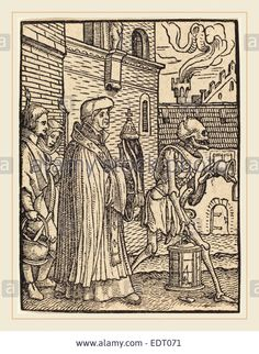 Download this stock image: Hans Holbein the Younger (German, 1497-1498-1543), Parish Priest, woodcut - EDT071 from Alamy's library of millions of high resolution stock photos, illustrations and vectors.