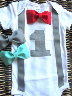 Boys First Birthday Outfit - Baby Boy Clothes - Gray Suspenders and Aqua Red Gray Bow Tie - Boys Birthday - Little Man 1st by SewLovedBaby on Etsy https://www.etsy.com/listing/235625009/boys-first-birthday-outfit-baby-boy