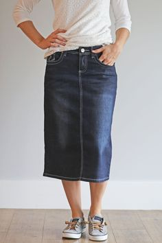 'Carly' Below the Knee Length Jean Skirt