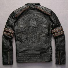 Bordado teste padrão dos crânios do vintage jaqueta de couro da motocicleta Do Punk cintura ajustável estilo da cor do contraste manga da jaqueta de couro dos homens