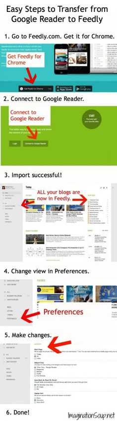 Easy steps for moving from Google Reader to Feedly-- a MUST since Google Reader is going away soon.