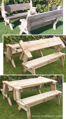 Folding picnic table - now it is two benches, now it's benches and a table. I wonder if this could be done in less chunky wood and still have structural integrity? PDF plans available at this link.