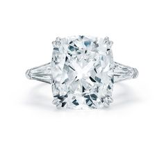 Brides.com: Engagement Rings with Large Center Stones. Style 17240C, 10.05 carat cushion-cut diamond engagement ring with bullet side stones set in platinum, price upon request, Kwiat See more Kwiat engagement rings.