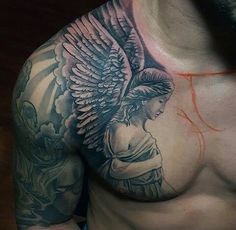 Lovely Winged Angel Religious Tattoo Male Chest