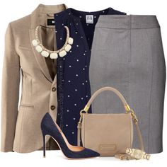 Grey & Tan A fashion look from October 2014 featuring Vero Moda blouses, H&M blazers and H&M skirts. Browse and shop related looks.A fashion look from October 2014 featuring Vero Moda blouses, H&M blazers and H&M skirts. Browse and shop related looks. Business Fashion, Business Outfits, Business Attire, Office Fashion, Office Outfits, Work Fashion, Work Outfits, Cute Outfits, Fashion Looks