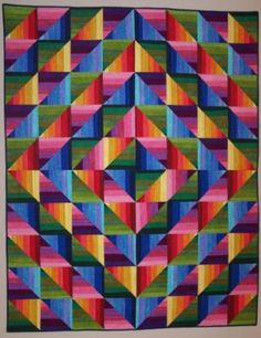 Colorful Quilt!  The Dimples Rainbow Strata Quilt Kit