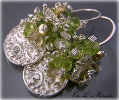 Signature Original Earring Style Gemstone Earrings PMC Recycled Silver Charms - Shamrock Irish