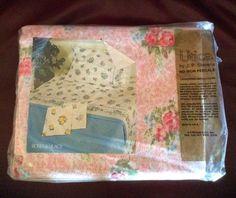 Vintage Utica JP Stevens Full Flat Sheet Roses And Lilacs No Iron New Old Stock #StevensUtica #Cottage