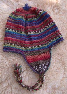 knit a peruvian beanie Baby Knitting Patterns, Owl Crochet Patterns, Shawl Patterns, Crochet Motif, Crochet Baby, Wooly Hats, Knitted Hats, Flap Hat, Kids Hats