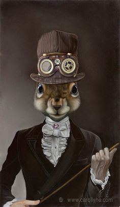 Steampunk - Package of three greeting cards and envelopes: Sophisticated Squirrel Steam Punk. Animal Art by carollyneyardley Steampunk Kunst, Steampunk Hat, Steampunk Artwork, Steampunk Animals, Animal Dress Up, Animal Heads, Surreal Art, Pet Clothes, Pet Portraits