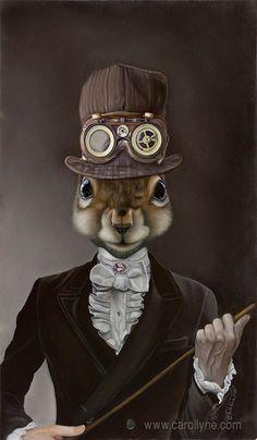 Steampunk Squirrel Poster Steampunk Hat by carollyneyardley, $30.00