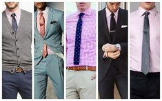 The Complete Guide to Men's Shirt, Tie and Suit Combinations - The Trend Spotter Grey Jacket Mens, Grey Suit Men, Grey Vest, Mens Summer Blazers, Blazers For Men, Navy Shirt Dress, Black Dress Pants, Navy Pants, Pink Colour Shirt