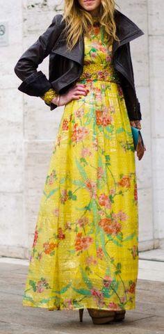Feminine floral prints + leather.