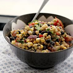 Yumm! Corn avocado salad with black beans and barley.