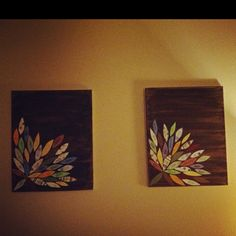 Kind of in love with these little leaf homemade wall art pieces! I think I would have the one on the right rotated so they faced each other :)