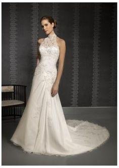 5de88fd51e51 A-line High Neck Sleeveless Backless Chapel Train Beaded Wedding Dress