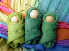 Felt Caterpillar - Handmade in Australia - A Waldorf inspired little grub, wrapped snuggly in natural hand dyed felt.. $8.00, via Etsy.
