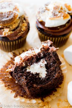 Marshmallow Filled Smores Cupcakes | Community Post: 15 Stuffed Cupcakes That Slayed The Baking Game