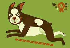 Boston Terrier silkscreen from Little Friends of Printmaking.