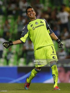 TORREON, MEXICO - FEBRUARY 28: Oswaldo Sanchez of Santos celebrates after first goal scored by his team during a match between Santos Laguna and Atlas as part of the Clausura 2014 Liga MX at Corona Stadium on February 28, 2014 in Torreon, Mexico.