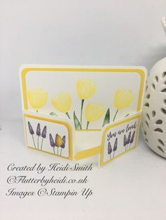 So we finally saw the sun last week …well on one day at least …so my thoughts turned to spring and I came up with this card inspiration. I love yellow and purples together, it reminds …