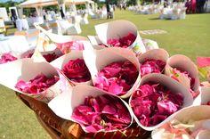 cones with flower petals for baraat