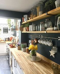 above a lot of inspiration about unique kitchen shelf shelves, so sure you don't want to replace it with a new kitchen shelf design like above? Kitchen Shelf Design, Kitchen Interior, Kitchen Storage, Apartment Kitchen, Open Kitchen Shelving, Diy Kitchen Shelves, Open Cabinets In Kitchen, Small Kitchen Shelfs, Ikea Kitchen Rack
