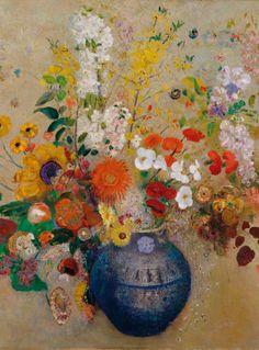 Odilon Redon, Flowers in a vase // Odilon Redon, Jarrón con flores