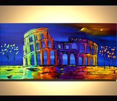 "Modern 48"" x 24"" ORIGINAL Colosseum City Acrylic Painting Signed Modern Palette Knife Acrylic Abstract by Osnat"