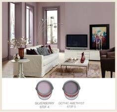 View some tips for choosing the best color for your interior trim color in this guide from Colorfully BEHR. Pastel Interior, Purple Interior, Interior Trim, Interior Design Living Room, Interior Ideas, Interior Doors, Plum Living Rooms, Living Room Colors, Dark Interiors
