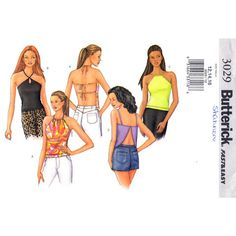 Drawstring Halter Top Pattern Butterick 3029 Backless Keyhole Womens Size 12 14 16 UNCUT
