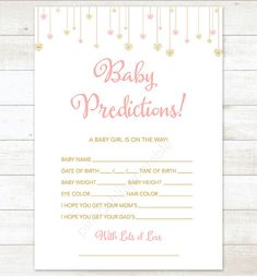 baby prediction card pink gold baby sprinkle shower game DIY pink gold baby girl digital shower games - INSTANT DOWNLOAD
