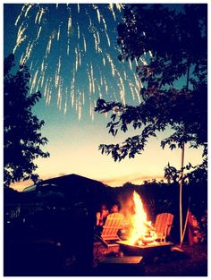 Perfect night snuggled by the Bonfire some good drinks and good friends watching the fireworks.