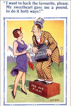 Banned saucy seaside postcards by Donald McGill go on show Funny Cartoon Pictures, Cartoon Jokes, Funny Cartoons, Funny Images, Funny Postcards, Vintage Postcards, Old Firm, Adult Humor, Funny Posts