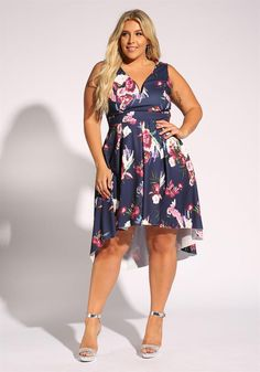Plus Size Clothing | Plus Size Floral Flared Hi-Lo Dress | Debshops